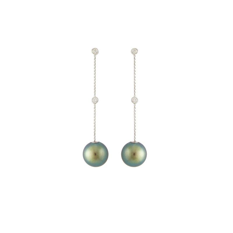 Boucles d'oreilles pendantes avec diamants